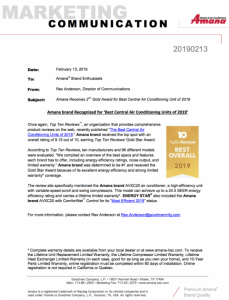 Amana Receives 2nd Gold Award for Best Central Air Conditioning Unit of 2019